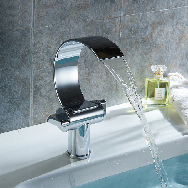 Deck Mounted Bathroom Waterfall Faucet For Cold and Hot Faucet Tap ...