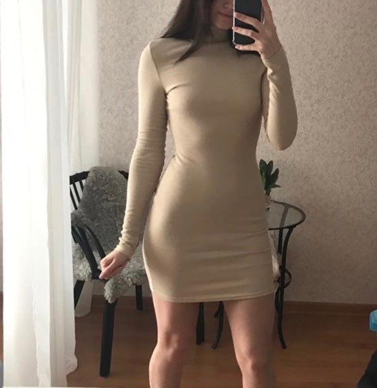 Elegant Mock Neck Ribbed Dress For Women Autumn Winter Mini Bodycon Dress Neon Color Long Sleeve Vestidos Mujer photo review