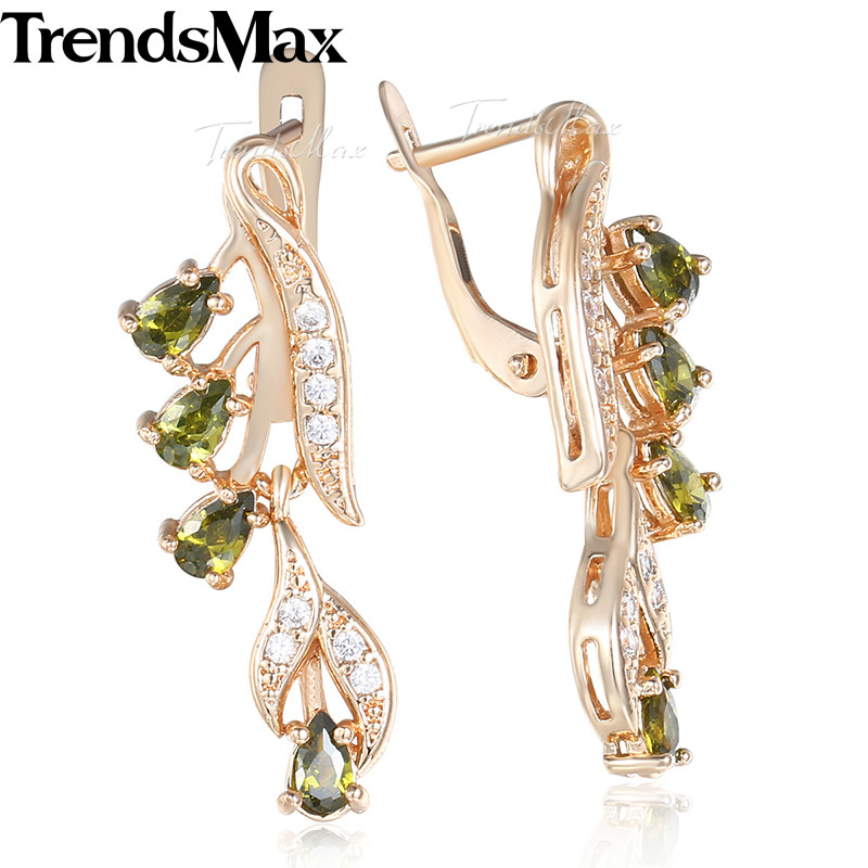 Drop Earrings For Women 585 Rose Gold Leaf Olivine Green Blue Clear CZ Womens Dangling Earrings Woman Jewelry 2018 Gifts KGE115 er 5302 women s fashionable leaf style zinc alloy earrings green pair