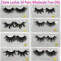 50 paires gratuites DHL Vip Momo 25mm cils dramatiques vison cils doux longs 3D vison cils entrecroisés plein Volume cils maquillage