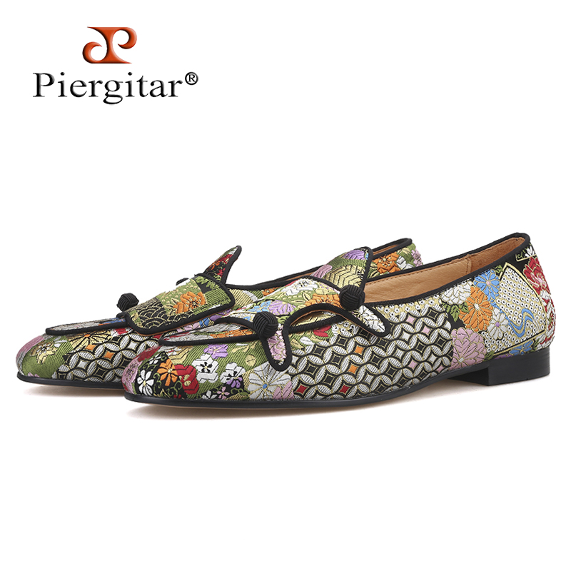 Piergitar multi color jacquard silk double monk BELGIAN LOAFERS with black buttons handcrafted men smoking slippers