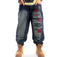 Hip Hop Men's Jeans Fashion AKA Washing Embroidery Loose Casual Baggy Pants Geek