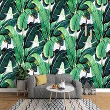 Fondo mural europeo vintage pintado a mano plantas de bosque tropical hoja de plátano jardín pared especializada en la producción de vallas