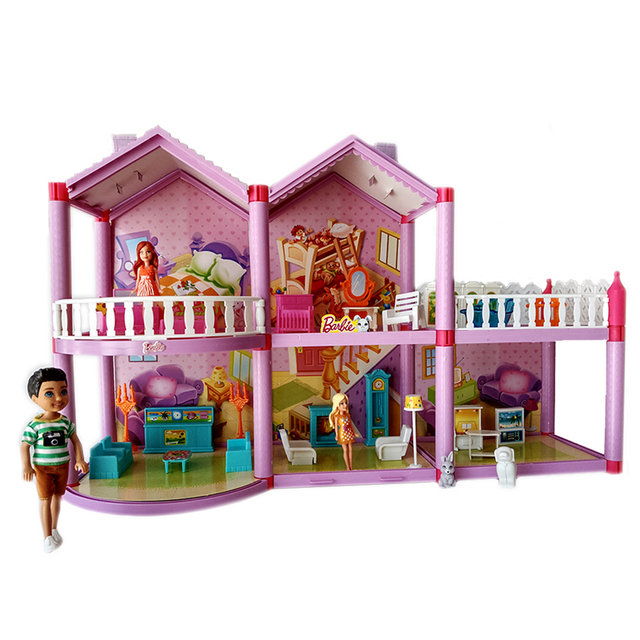 Barbie Doll Diy Dream House Accessories Children Castle Villa