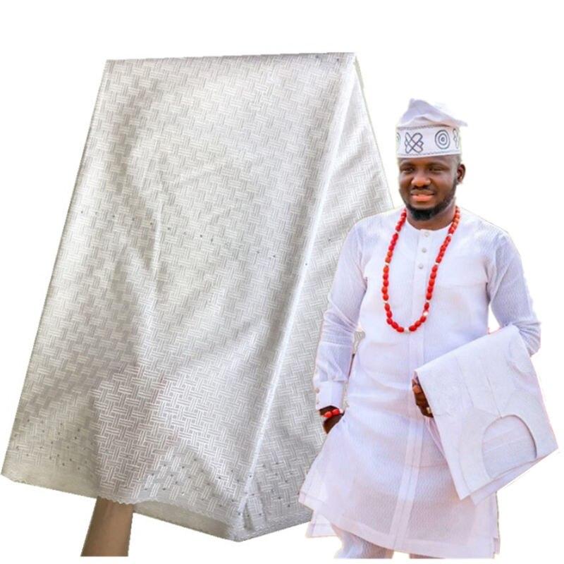 Tissu en dentelle de coton suisse blanc avec pierres pour hommes dentelle de Voile douce en suisse matériau de dentelle de coton nigérian 30