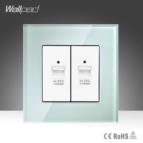 Double Usb Socket Wallpad White Crystal Glass Phone Charger  Double 2 Ports USB Socket Free Shipping free shipping 120 models 120pcs usb socket 2 0