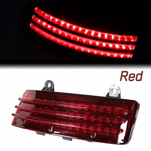 Red Tri Bar LED Rear Tail Brake Fender Tip Light For Harley 14 18 Street Glide&15 18 Road Glide Models