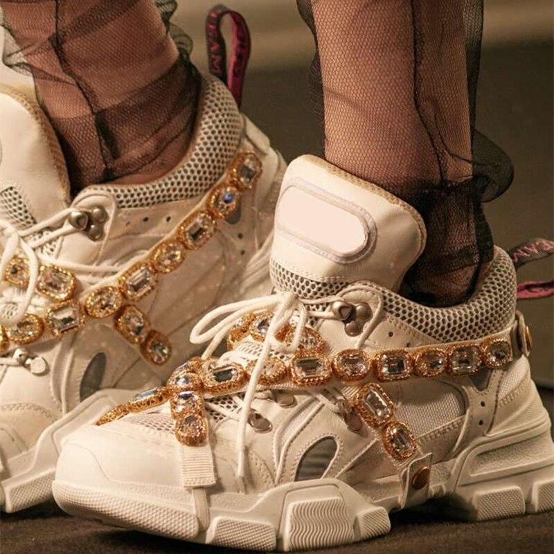Nouvelle Marque De Luxe À La Main Cristal Embelli Couleurs Mélangées Plates-Formes Formateurs Chaussures Dentelle Up Ultra Sneakers Pré-commande Chaussures Femme