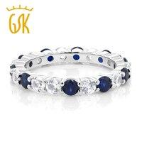 GemStoneKing Hochzeit Wunderschöne 2,20 Ctw Blau Weiß Saphir 925 Sterling Silber Ewigkeit Ring Bands Neue Schmuck für Frauen Bague