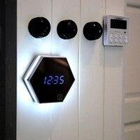 Çok fonksiyonlu Led Dijital Çalar Saat Gece Işık Sıcaklık Ekran Ayna Termometre Dokunmatik Algılama Masa Lambası Seyahat Saatler