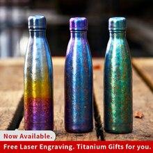 Tikungfu Titanium Thermos Vacuum Flask Bottle Kettle 500ml Drinkware Coke Outdoor Hiking Travel Fashion Portable Frosted Rainbow