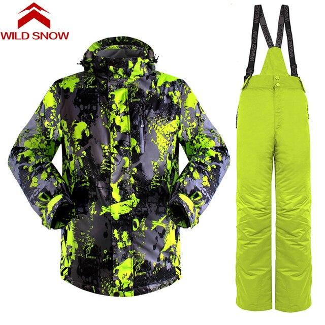 11fc33331 Wild snow 2017 new map Ski suit set men's Snowboard jacket and pants ski  suit male windproof waterproof men's winter jackets