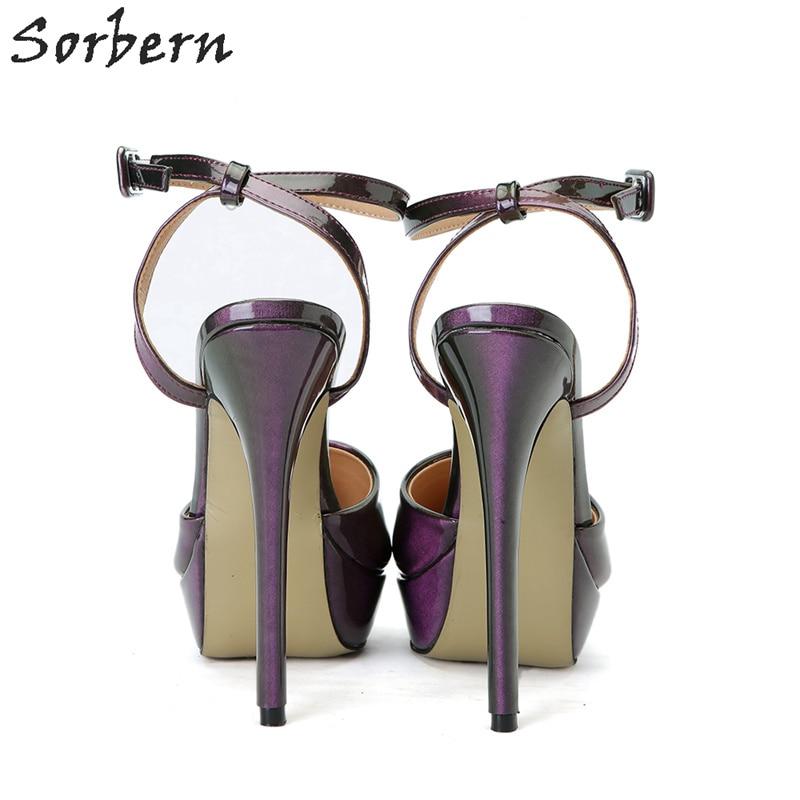 Designers Color Sorbern Haute Femmes Luxe De Custom Pompes Chaussures Personnalisé Violet Sangle Talons Boucle Couleur pourpre q6q5x7nCw