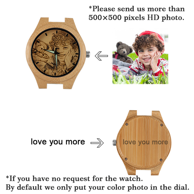 YAZI Personlized Wooden Watch Your Own Photo Watch for Men  Unique Bamboo Wood wooden watch ladies No Waterproof