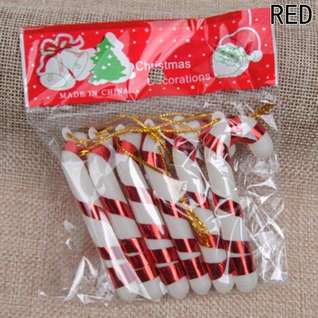6 Pcs Christmas Candy Cane Ornaments Festival Party Xmas Tree