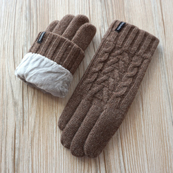Men Winter Gloves Fashion Men Knitted Wool Gloves Double Thick Velvet Touch Warm Comfortable Male Driving Gloves A29