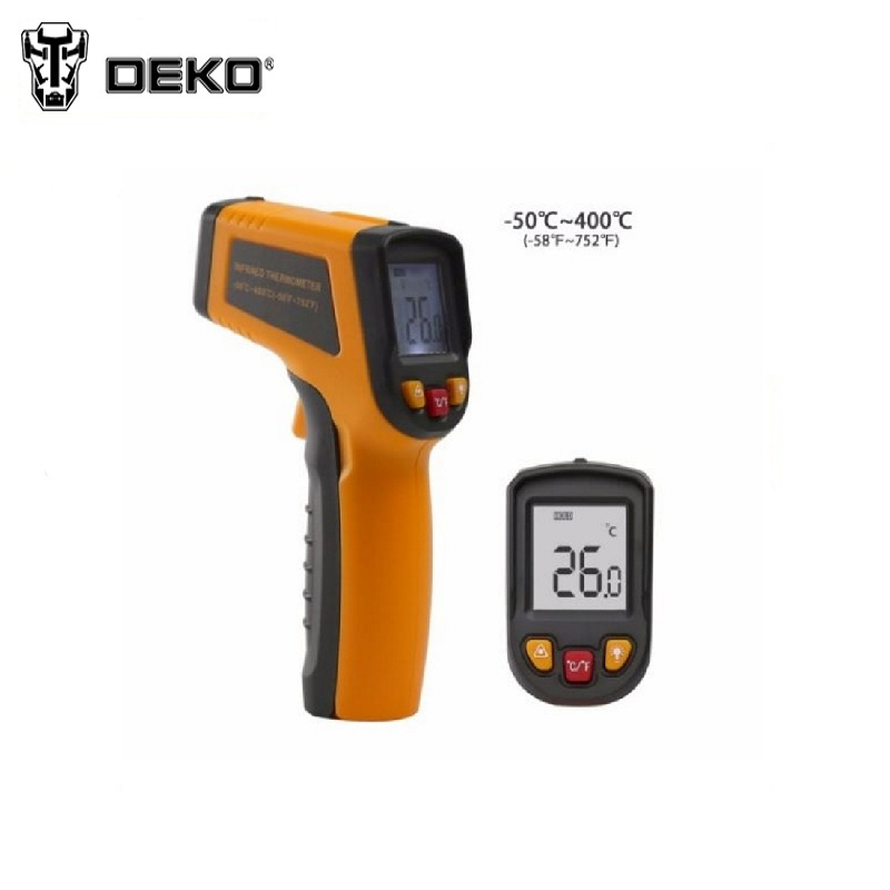 Infrared pyrometer DEKO CWQ01 Non-Contact Laser LCD Display IR Infrared Digital C/F Selection Surface Temperature Thermometer mastech ms8211 pen type digital multimeter non contact ac detector