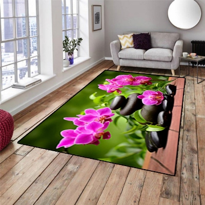 Else Green Floral Pink Flowers Black Spa Stones 3d Print Non Slip Microfiber Living Room Decorative Modern Washable Area Rug Mat