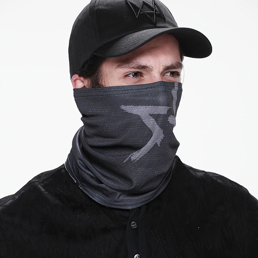 New 2018 Cool Mens Cosplay  For Aiden Pearce Watch Dogs Face Mask Neck Warmer Video Game Cosplay Costume