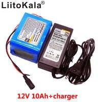 Liitokala grande capacidade 12v 10ah 18650 bateria recarregável de lítio 12v 10000 mah com bms para 75 w lâmpada led xenon ues