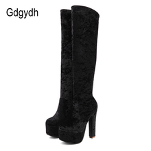 Gdgydh Soft Suede Over The Knee Boots Thigh High Boots Women Punk Shoes For Party Sexy High Heels Drop Shipping Big Size 43