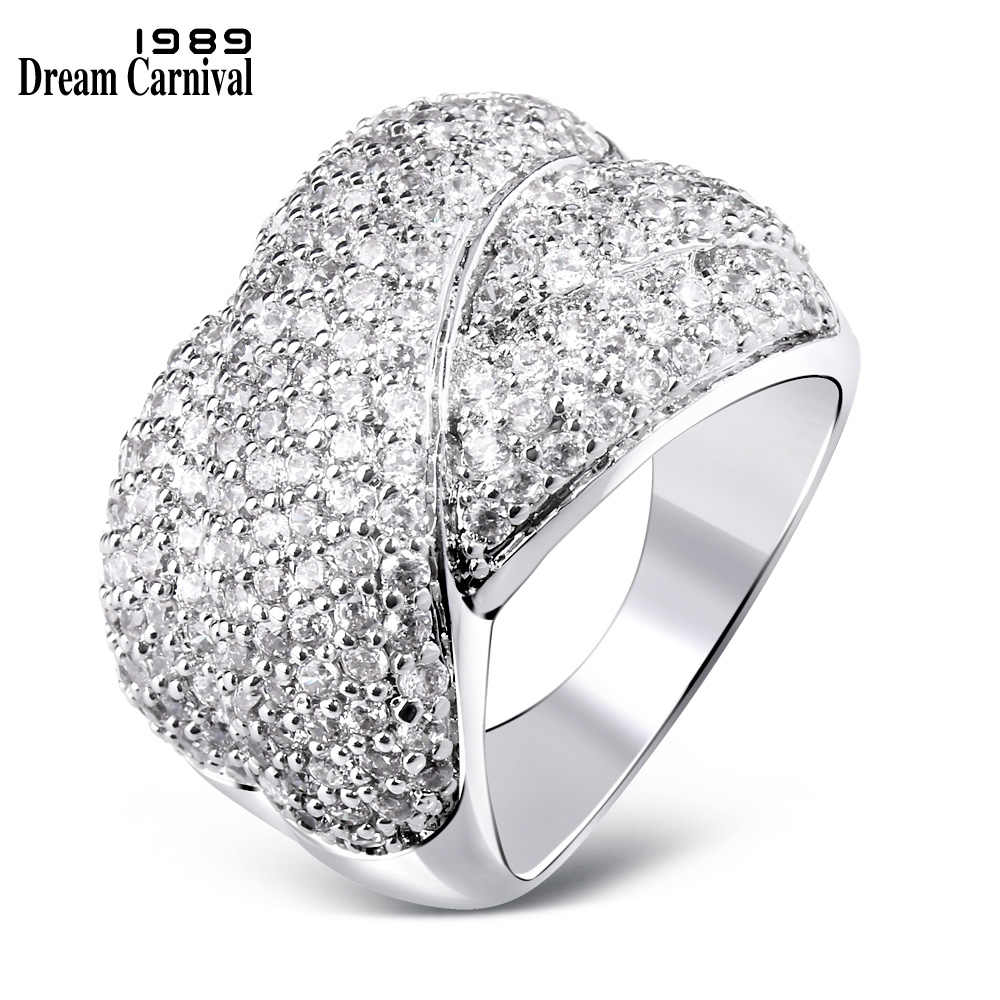 DreamCarnival 1989 Micro Pave Zircon Setting Stones Quality Cross Shape Trendy Design White Crystal Ladies Cheap Wedding SJ14369