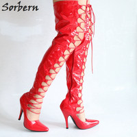 Sorbern Extra Wide Leg 30cm Extrem High Heels Metal Heeled Crotch Thigh High 80cm Long Boots Unisex Ladies Shoes Platform Boots
