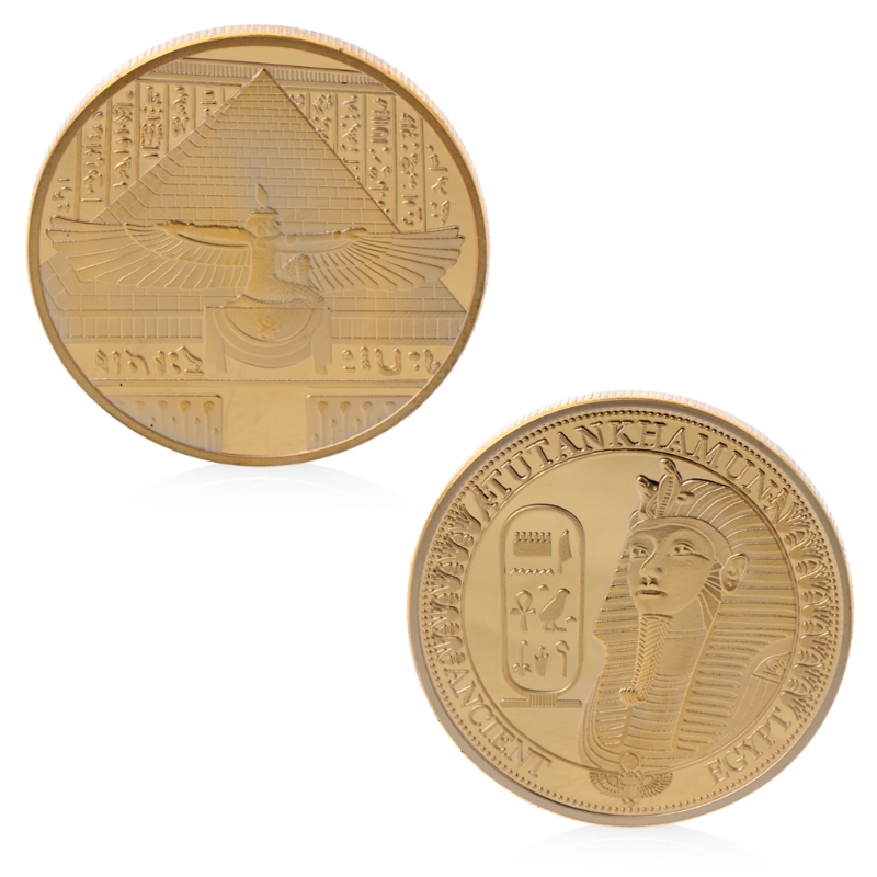Gold Plated Ancient Tutankhamun Commemorative Challenge Coin Collection Souvenir