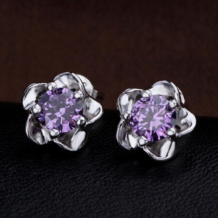 Charming And Fashionable Newly Arrival Blossoming Plum Pattern Earrings - Color Purple