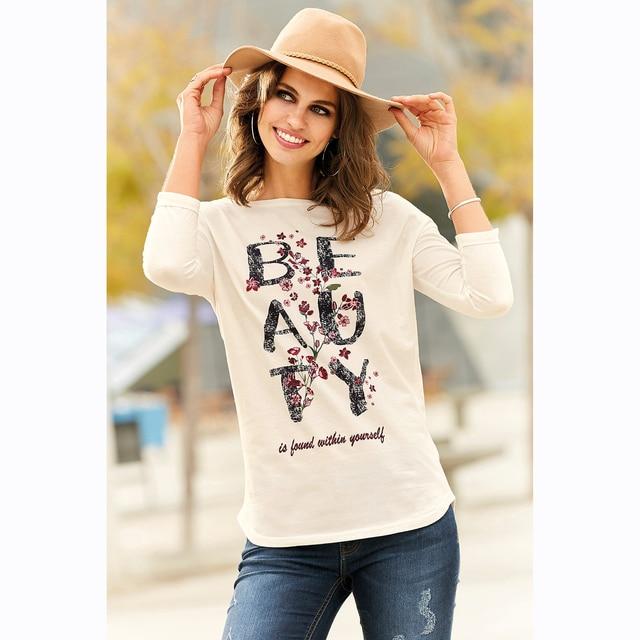Camiseta escote redondeado y manga 3/4 con vuelta by VencaStyle