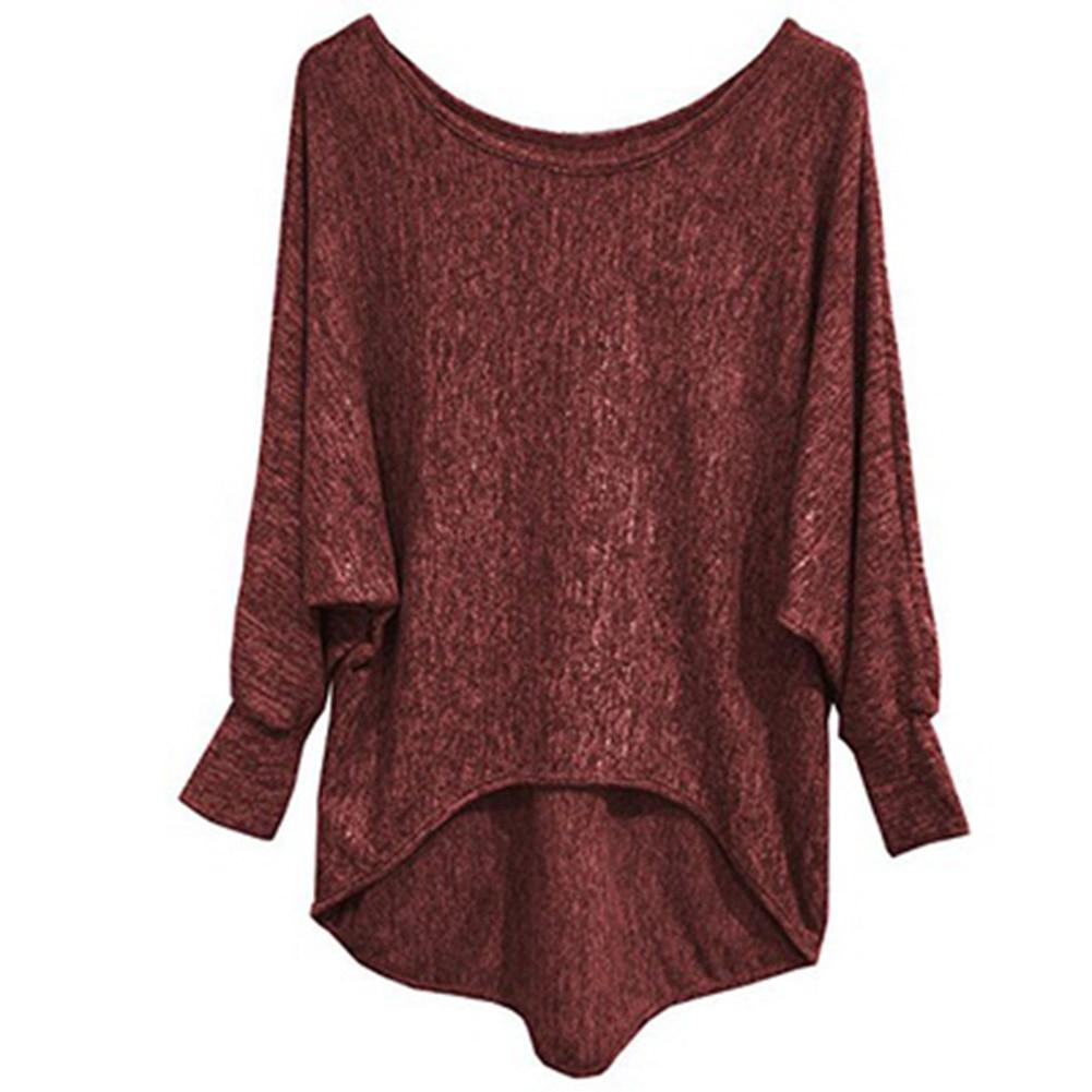 Women autumn long sleeve t shirt women loose high low hem for Low neck t shirts women s