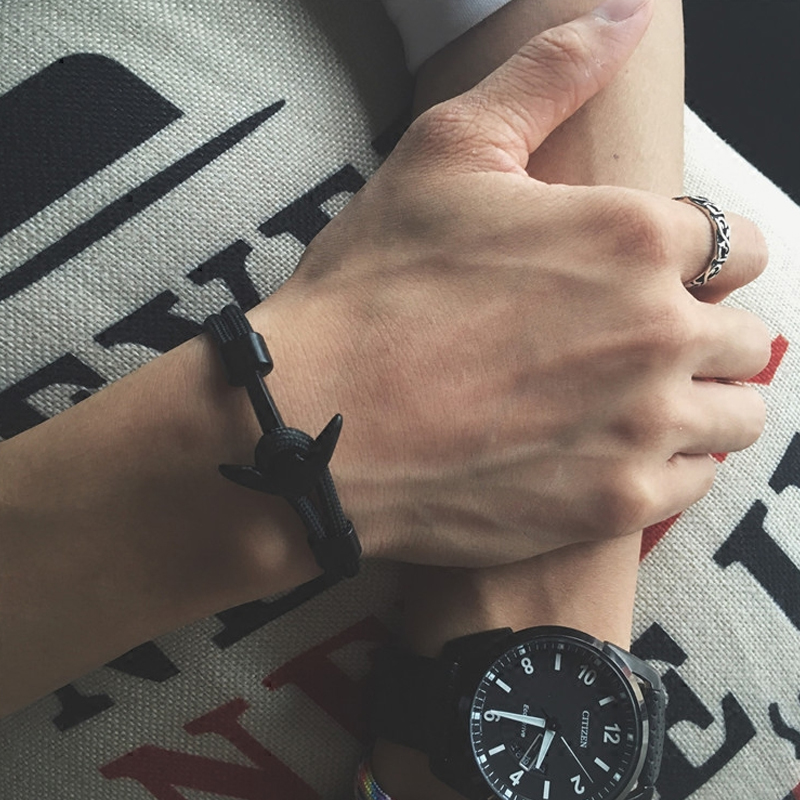 Men's Rope Multilayer Bracelet with Anchor Charm
