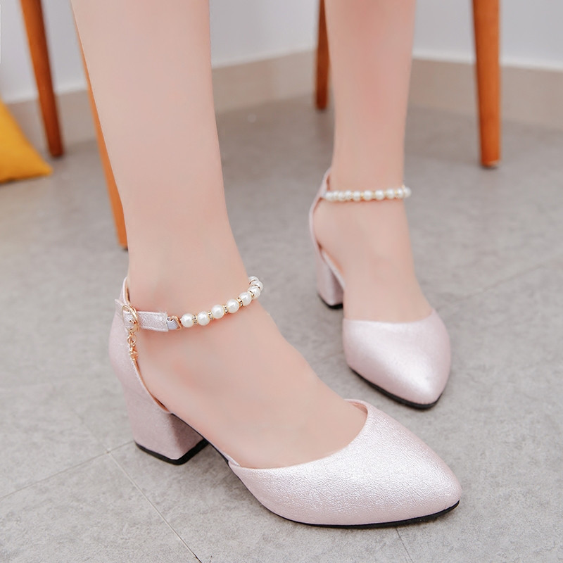2019 Spring And Summer With The Female Shoes Shallow Baotou Sandals Rough With 6 Cm High Heels Sandalias Femeninas X63