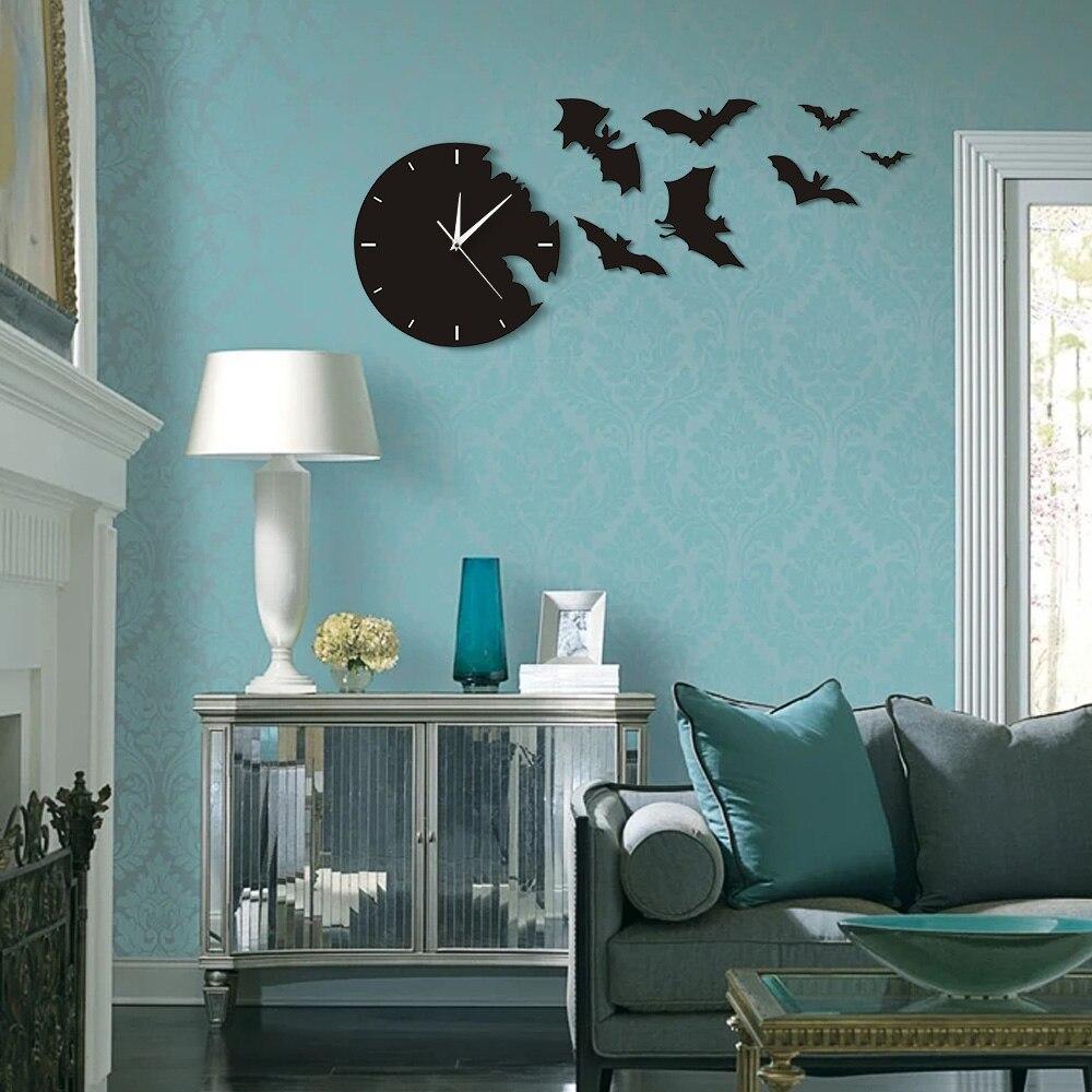 A Bat Clock From The Escape Clock Halloween Bat Silhouette Wall Clock Scary Bat Symbols Home Decor Contemporary Black Wall Clock Just6F