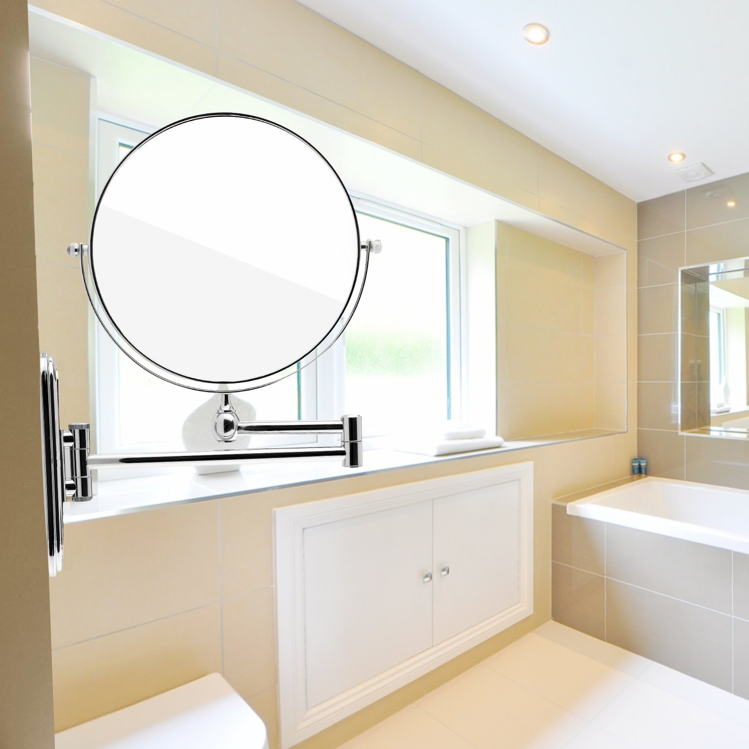 Folding bathroom mirror - 200mm Cosmetic Double Sided 7x Magnifying Mirror Round Brass Wall Mounted Extending Folding Mirrors Bath Toilet