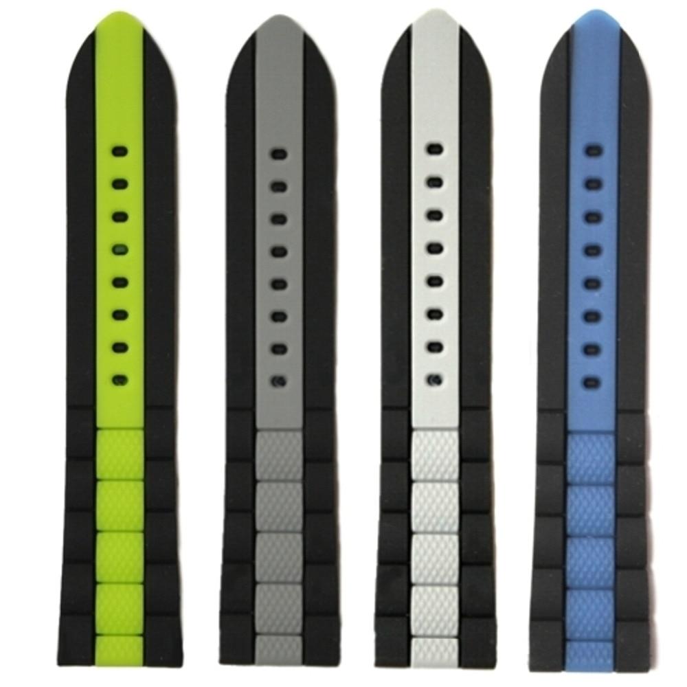 22mm en gros 18 Pcs/Lots vert gris bleu blanc multicolore nouveau Silicone gelée caoutchouc unisexe bracelet de montre sangles WB1050-22