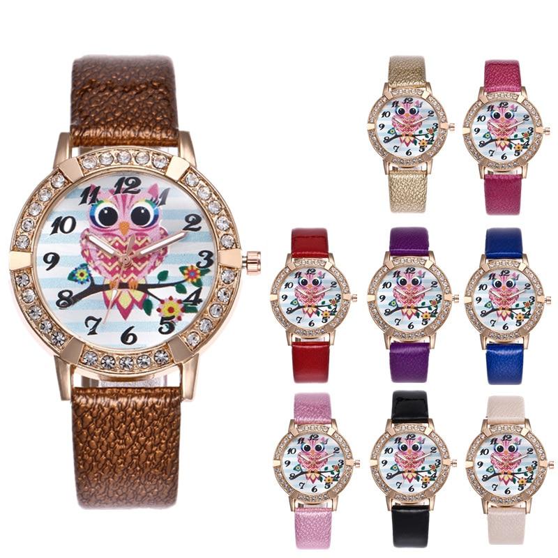 saat Women Watch Luxury Brand Fashion Casual Ladies Leather Watch Quartz Owl Clock Relogio Feminino Reloj Mujer Montre Femme