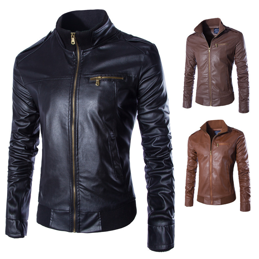 LASPERAL Newest Motorcycle Leather Jackets <font><b>Men</b></font> Solid Business Casual Coats Autumn Winter Leather Clothing Bomber Jacket for Male
