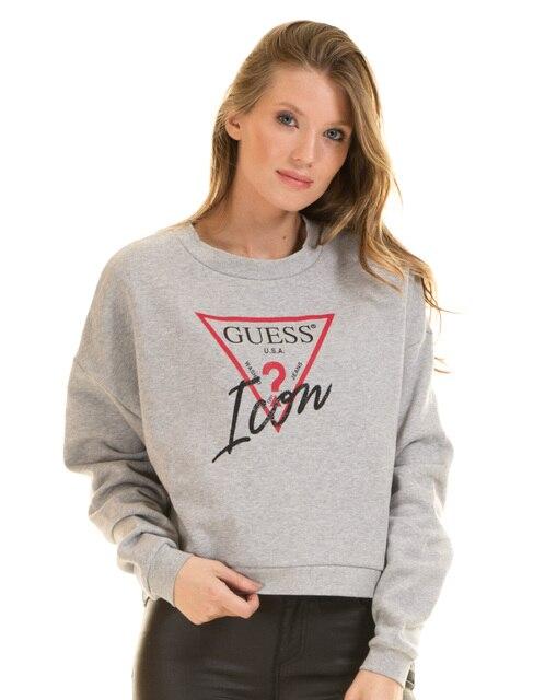 75a7fe620734 Guess cropped sweatshirt in grey melange ICON-in Hoodies ...
