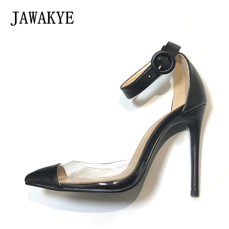 Black Nude Patent leather Women Pumps PVC Patchwork Clear Shoes Woman High heels ankle strap Sexy ladies Wedding Party Shoes цена
