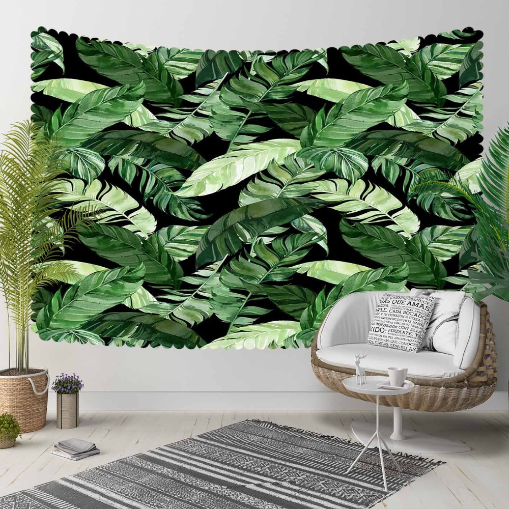 Else Black Floor Green White Tropical Leaves Floral 3D Print Decorative Hippi Bohemian Wall Hanging Landscape Tapestry Wall Art