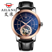 Real China AILANG Brand Men's Wind Waterproof Leather Strap Automatic Mechanical Watch Tourbill Dial Black Men's Fashion