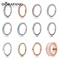 DORAPANG 925 Sterling Silver 14K Gold Color Pan Rings For Women Jewelry Rose Gold Drops Of