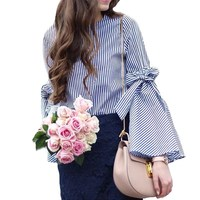 2017 Eleagnt Women Autumn O Neck Striped Lace-up Long Flare Sleeve Tops Sweet Bow Summer Casual Loose Party Beach Shirt Blouse