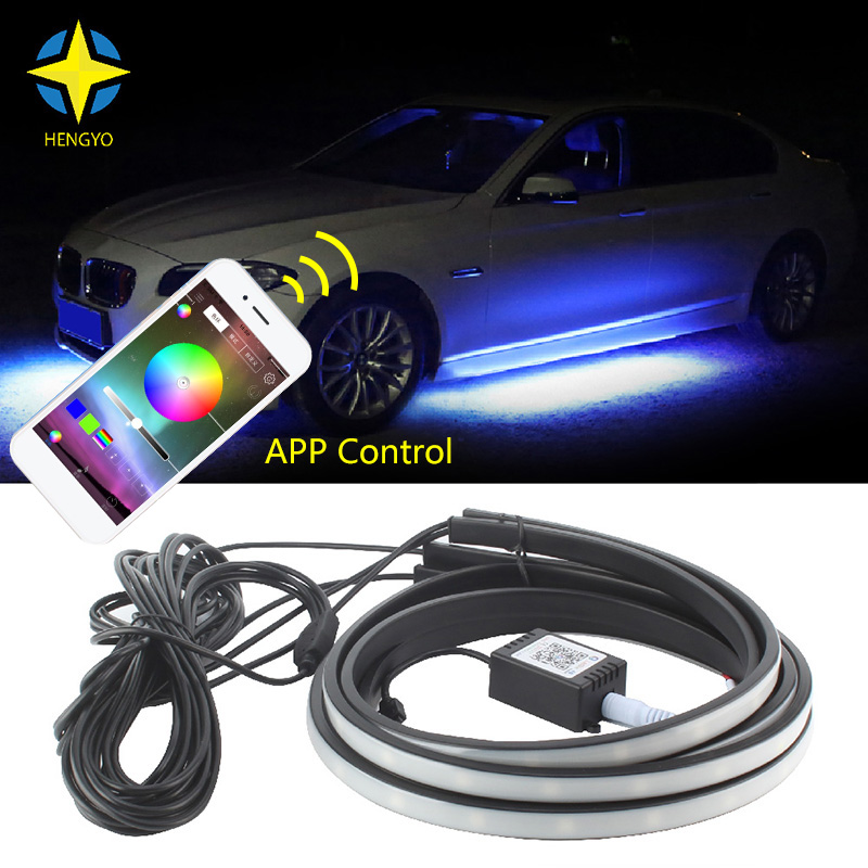 APP Control RGB Car Flexible LED Strip Decorative Atmosphere Lamp 90X120CM Under Tube Underglow Underbody System Neon Light Kit image