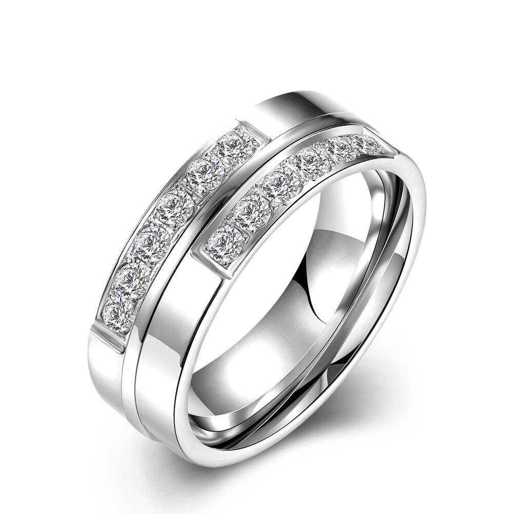 Lureme классический Нержавеющаясталь две линии Циркон перспективных кольцо для Для женщин Свадебные украшения (04001594)