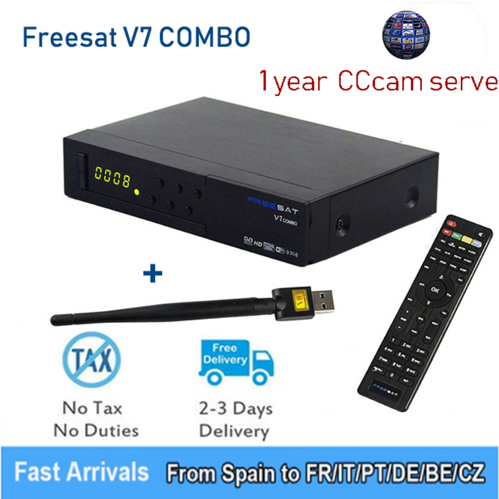 dvb s2 dvb t2 free sat v7 combo satellite receiver with powervu biss key cccam usb wifi set top box youtube v7 combo gtmedia Freesat V7 Combo receiver HD Satellite TV box PowerVu DVB-S2 DVB-T2 Biss Key H.265 Support with 1 year Clines europe GTmedia