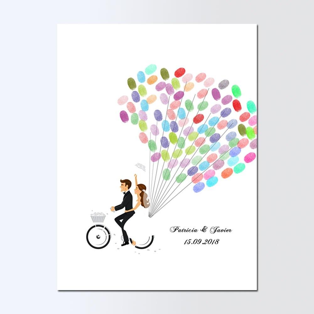 Nome Personalizado gratuitamente Data Livro De Convidados Do Casamento Do Noivo Da Noiva Bicicleta Pintura Da Lona, Impressão Digital DIY Livro de Visitas, livre d'or de mariage