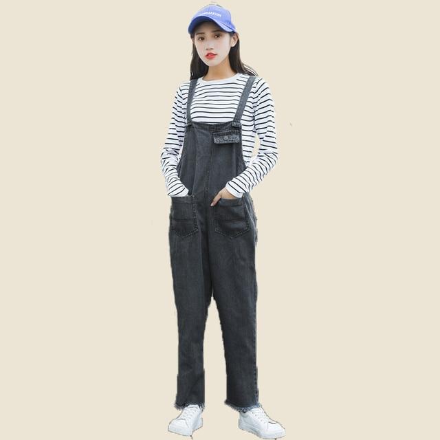 7d16bf9fd5 Women Fashion Jumpsuit Vintage Retro Denim Blue Jean Look Playsuit Dungarees  Suspender Trousers Ladies Overall Pants