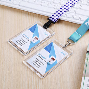 NO MOQ Acrylic Crystal Staff Access id lanyard Card badge holder for office school Exhibition with custom lanyard neck strap